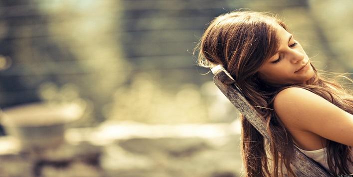 Teen girl resting outdoors