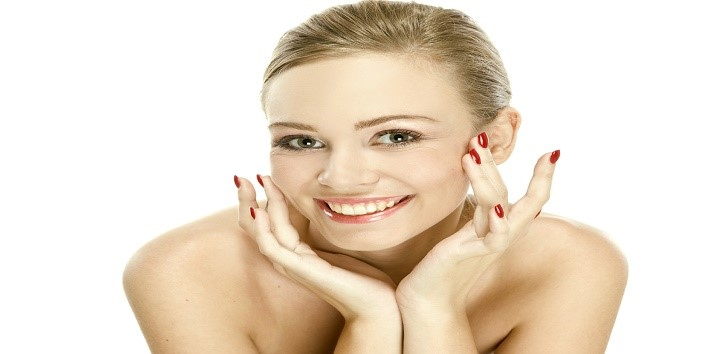 Natural beauty girl with good skin smiles