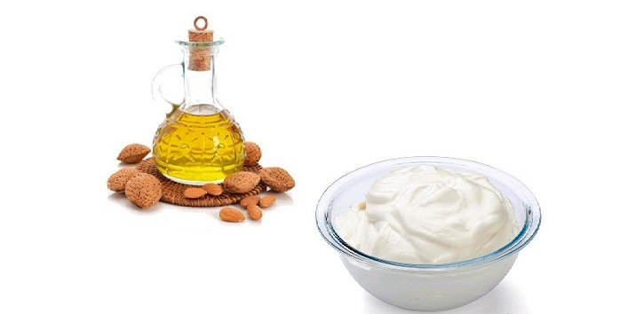 Almond oil and yogurt mask for healthy hair