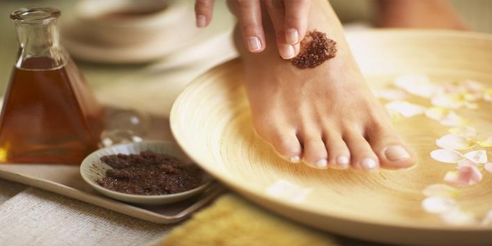 Scrub your feet