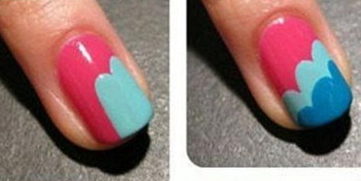 Colorful Clouds Nail Art