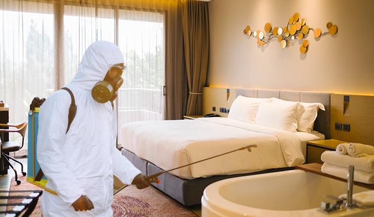sanitizing hotel rooms